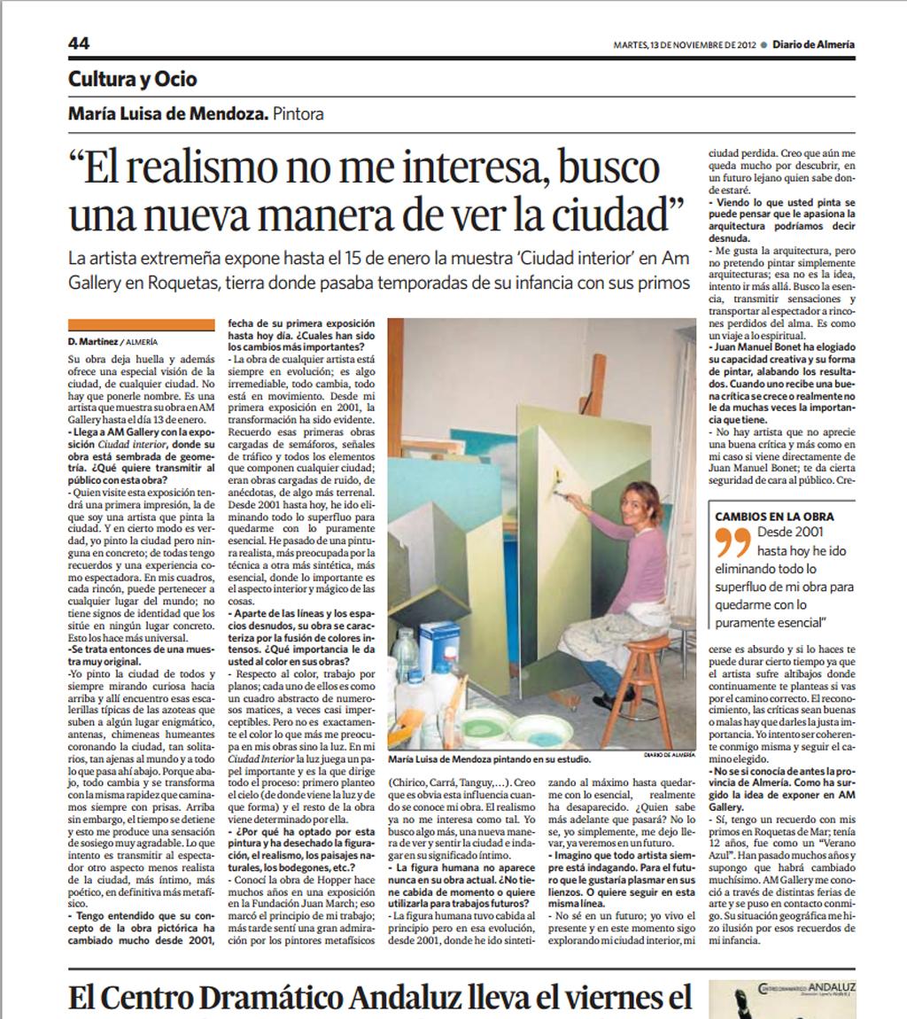 Entrevista a María Luisa de Mendoza en Diario de Almería