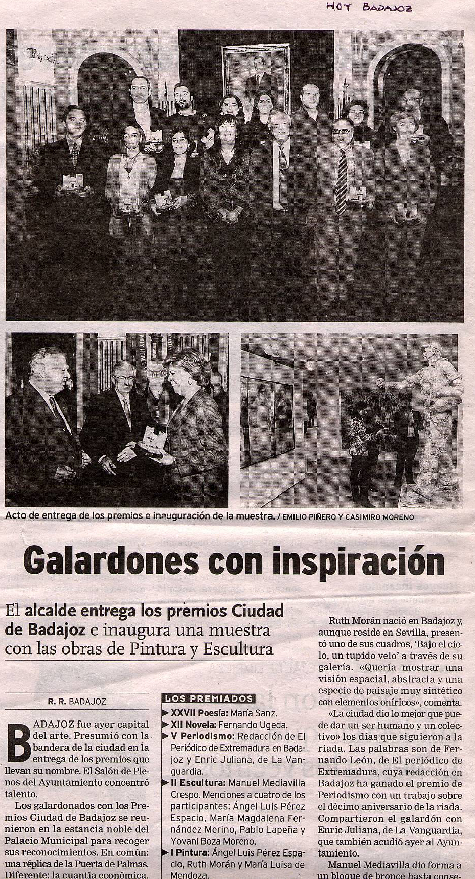 Hoy Badajoz · Premios Ciudad de Badajoz Pintura