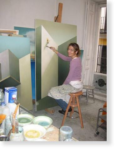 María Luisa de Mendoza pintando en su estudio
