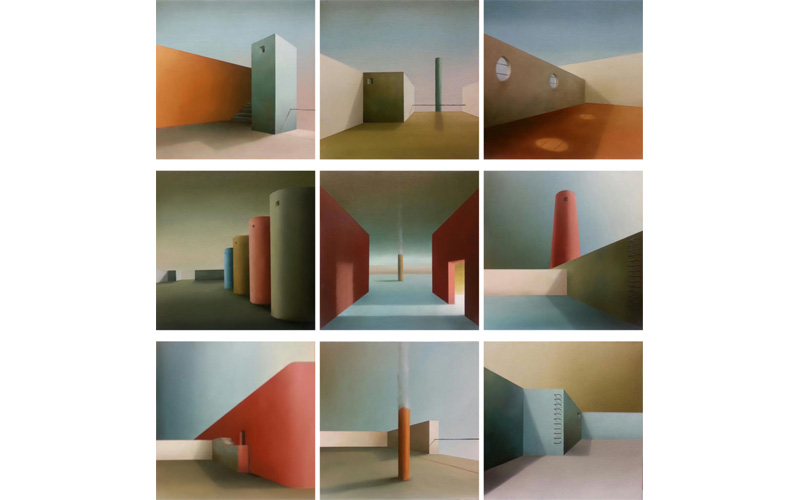 Azoteas: Políptico de 9 cuadros. 33x33cm. Pinturas urbanas