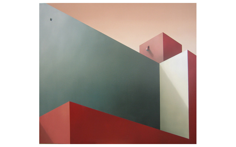 Cielo rosa. 130x146cm. Pintura de ciudad