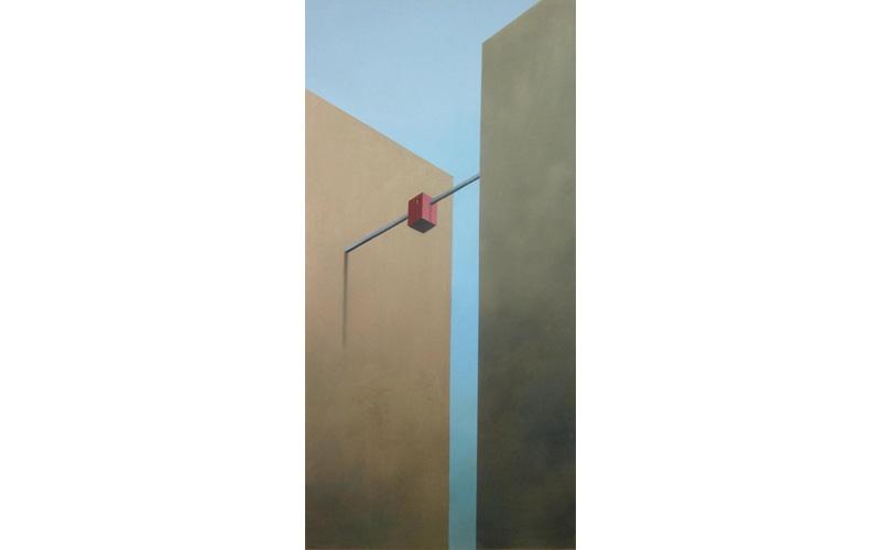Edificios oro y estructura roja. 60x30cm. Pinturas existenciales