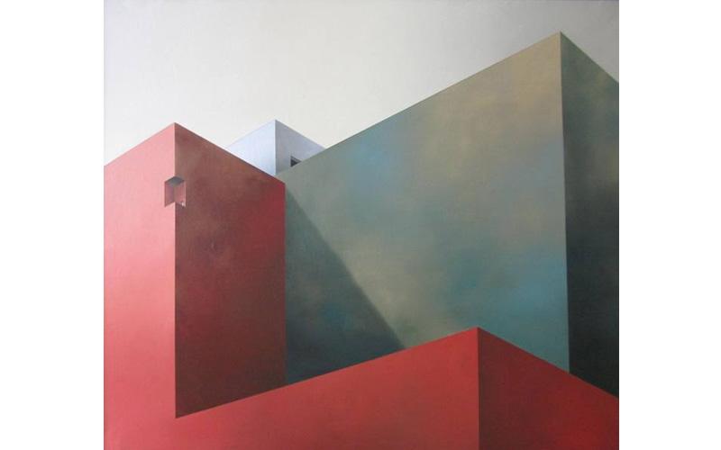 Esquina roja y terraza. 100x116cm. Pintura metafísica