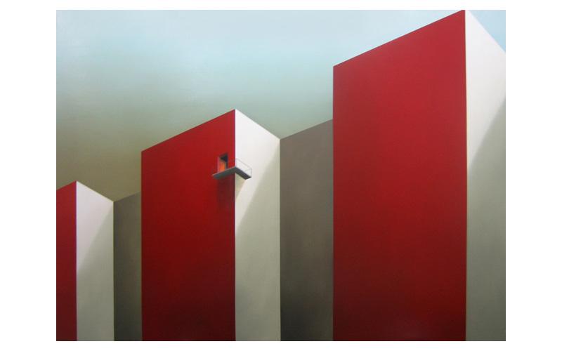 Habitación roja II. 147x200cm. Cuadros urbanos