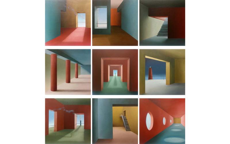 Interiores: Políptico de 9 cuadros. 33x33cm. Cuadro ciudad