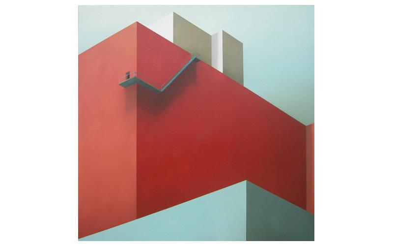 Pared roja y escaleras. 120x120cm. Cuadro de arquitectura
