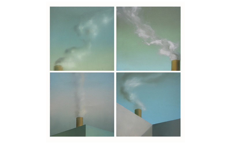 Políptico I: Cuatro cuadros de 27x27cm. Cuadros abstractos