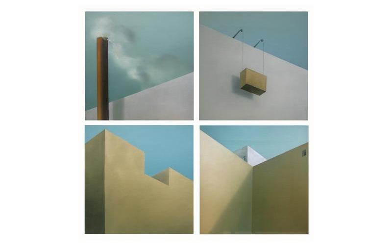 Políptico II: Cuatro cuadros de 27x27cm. Cuadro abstracto