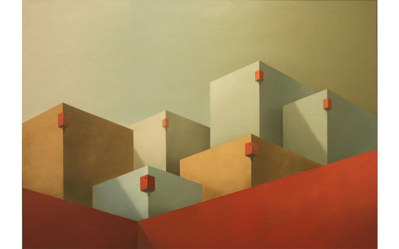 Seis miradores rojos. 116x162cm. Pinturas existenciales