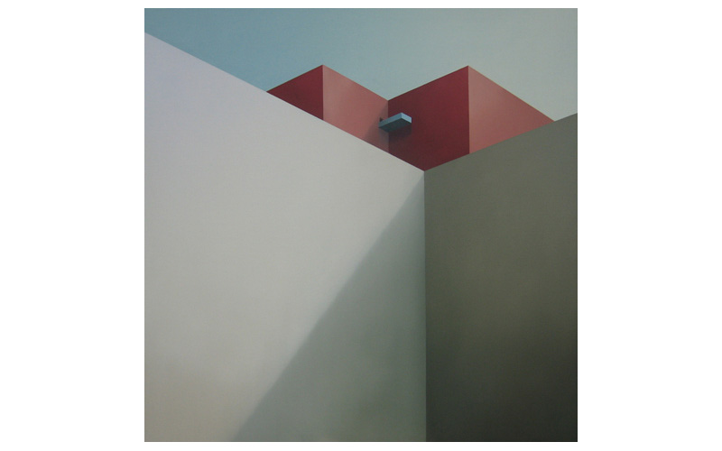 Terraza azul. 120x120cm. Pintura geométrica