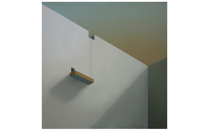 Terraza naranja y escalera. 120x120cm. Pinturas geométricas