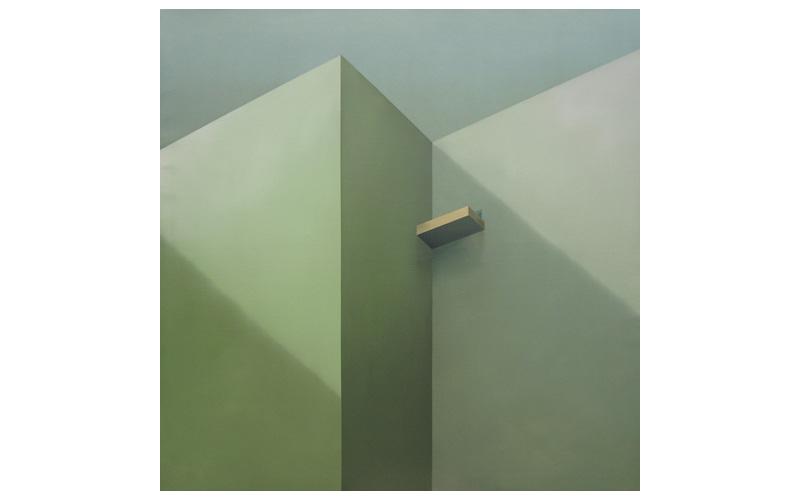 Terraza oro y puerta azul. 120x120cm. Cuadro geométrico